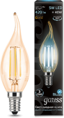 картинка Лампа 5W Е14 4100K Gauss Filament Candle tailed LED Golden (104801805)