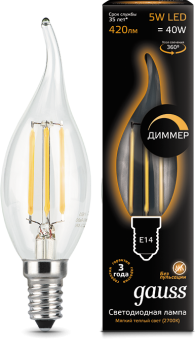 картинка Лампа 5W Е14 2700K Gauss Filament Candle tailed LED (104801105)